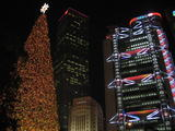 ... Kong. The HSBC building nicely lit up behind a giant Christmas tree